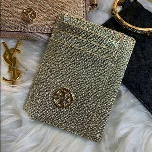 Tory Burch Gold Saffiano Cardholder